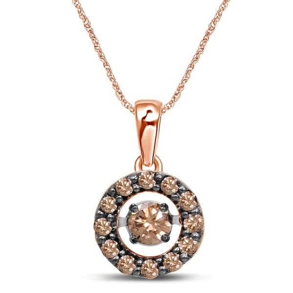 8eea737dadb4 Unending Love 10k Rose Gold 1 3ct TDW Champagne Diamond Dancing Diamond  Pendant Necklace