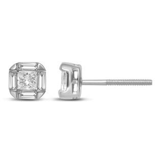 Unending Love 14k White Gold 1/2ct TDW Princess and Baguette Cut Diamond Women's Stud Earrings