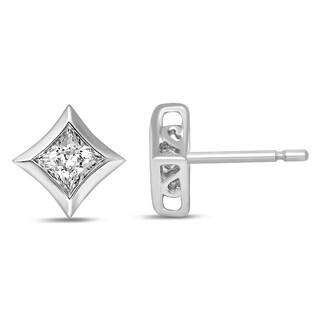 Unending Love 14k White Gold 3/8ct TDW Princess Cut Diamond Women's Starra Stud Earrings 14K White Gold