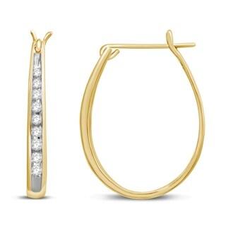 Unending Love 10k Yellow Gold 1/4ct TDW Diamond Channel Set Women's Hoop Earrings