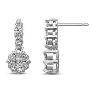 Unending Love 14k Yellow Gold 1ct TDW Diamond 3 Row Flower Earrings