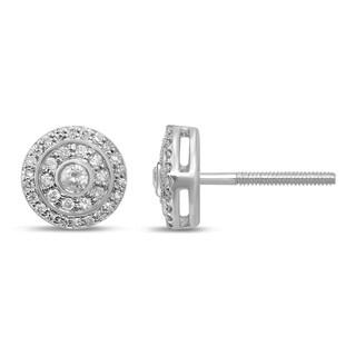 Unending Love 10k White Gold 1/4ct TDW Diamond Miligrain Fashion Stud Earrings