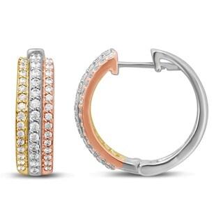 Unending Love 10k Tri Color Gold 1/2ct TDW Diamond Huggy Hoop Earrings (I-J Color, I2-I3 Clarity)