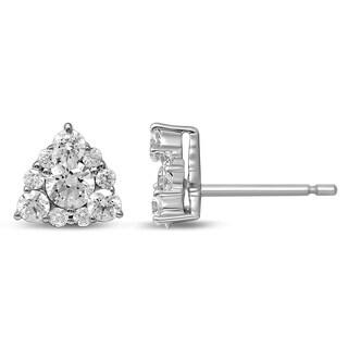 Unending Love 14k White Gold 3/4ct TDW Diamond Triangle Shape Women's Stud Earrings