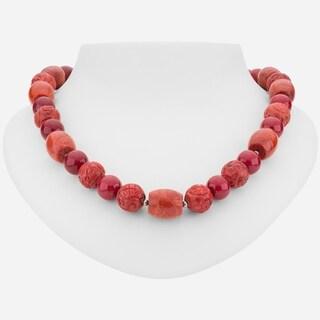 "Tara Mesa Sterling Silver 31"" Cinnabar and Coral Necklace"