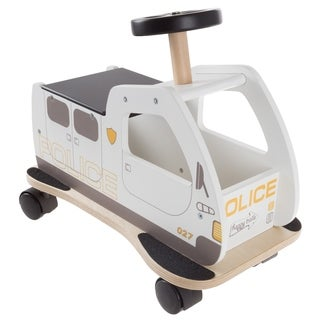 Ride On Police Car Toy Box with Steering Wheel, Sturdy Seat and All Direction Wheels- by Happy Trails