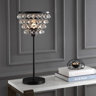 "Buckingham 25"" Crystal/Metal Table Lamp, Bronze/Clear"