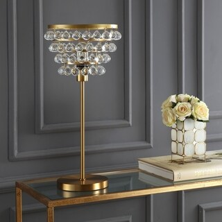 "Buckingham 25"" Crystal/Metal Table Lamp, Brass Gold/Clear"