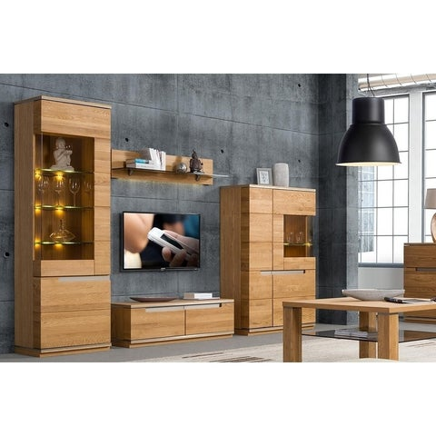 Torino Glass and Wood Oak Finish Traditional TV Stand