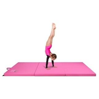 Gymnastics Mat, 3' x 6' Tri Folding Tumbling Mats with Carrying Handles, Pink - Crown Comfort