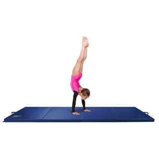 Gymnastics Mat, 3' x 8' Quad Folding Tumbling Mats with Carrying Handles, Blue - Crown Comfort