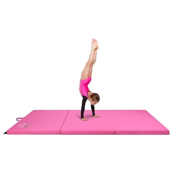 Gymnastics Mat, 4' x 6' Tri Folding Tumbling Mats with Carrying Handles, Pink - Crown Comfort