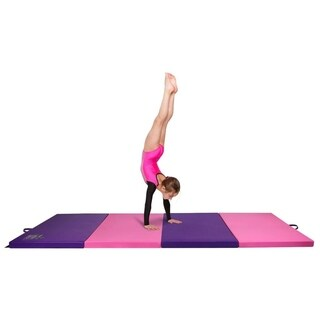 Gymnastics Mat, 4' x 8' Quad Folding Tumbling Mats with Carrying Handles, Pink/Violet - Crown Comfort - Pink/Purple