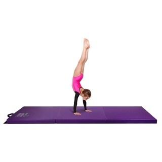 Gymnastics Mat, 2' x 6' Tri Folding Tumbling Mats with Carrying Handles, Violet - Crown Comfort - Purple