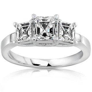 Annello by Kobelli 18k Gold 1 1/2ct TDW Asscher Diamond Ring (H-I, SI)
