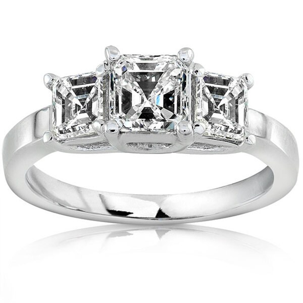 Annello by Kobelli 18k Gold 1 1/2ct TDW Asscher Diamond Ring (H-I, SI)