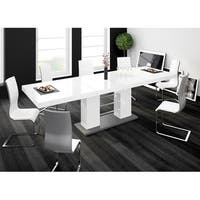 LINOSA High Gloss Dining Table with Extension - White - N/A