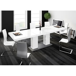 LINOSA High Gloss Dining Table with Extension - White