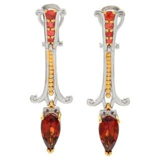 Michael Valitutti Palladium Silver Madeira Citrine & Orange Sapphire Drop Earrings