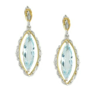 Michael Valitutti Palladium Silver Elongated Sky Blue Topaz Scrollwork Frame Dangle Earrings