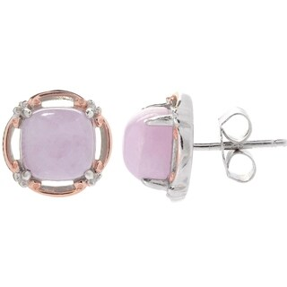 Michael Valitutti Palladium Silver Cushion Shaped Kunzite Stud Earrings