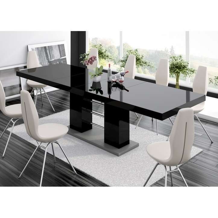 Linosa High Gloss Dining Table With Extension Black Overstock 21584196