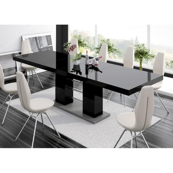 Linosa High Gloss Dining Table With Extension Black