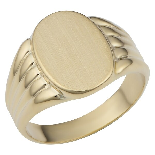Shop Fremada 14k Gold Mens Womens Oval Signet Ring On