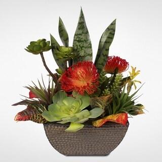 Decorative Artificial Succulent Centerpiece in Ceramic Container