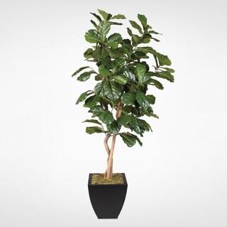 Silk 7-foot Artificial Fiddle Leaf Tree in Black Metal Pot