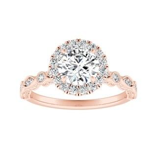 Auriya 14k Gold Vintage Milgrain 1 1/2ct Round Moissanite and 1/3ct TDW Halo Diamond Engagement Ring