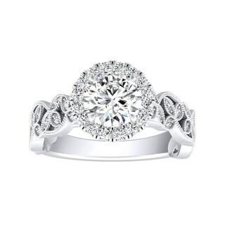 Auriya 14k Gold Vintage Nature-Inspired 2 1/2ct Brilliant Round Moissanite and 1/4ct TDW Diamond Halo Engagement Ring