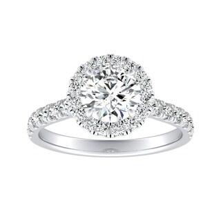 Auriya 1 2ct Moissanite Halo Diamond Engagement Ring 5 8ctw 14k Gold