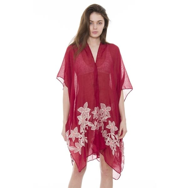 4d6a2a86a2f Womens Breezy Soft Lightweight Stylish Embroidered Floral Kimono Cardigan  Beach Pool Cover-up ...
