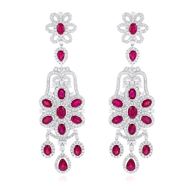 Luxurman Designer Jewelry Chandelier Ruby Diamond Earrings 14k Gold 7 3ctw G H Color