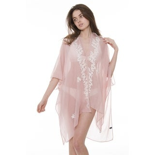 Womens Breezy Soft Lightweight Stylish Embroidered Floral Kimono Cardigan Beach Pool Cover-up