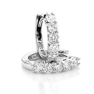 Luxurman Round Diamond Huggie Earrings Hoops 14k Gold 0.75ctw G-H Color