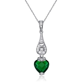 Collette Z Sterling Silver Heart Cubic Zirconia Pendant Necklace