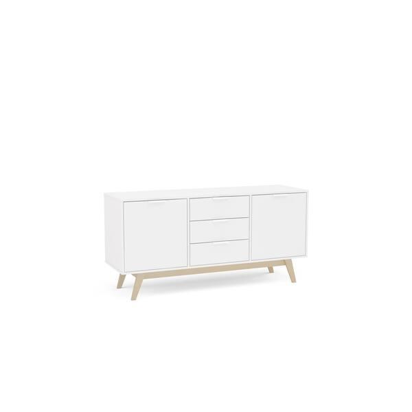Polifurniture Shard Buffet 60 Inch Light Brown//White