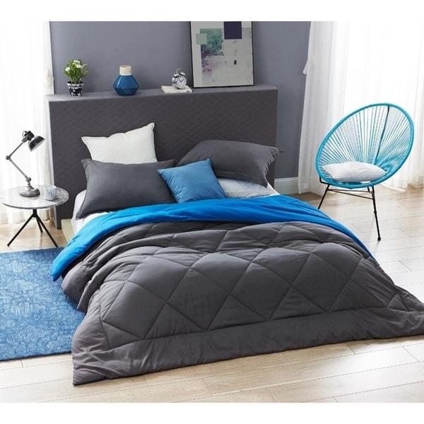 BYB Granite Gray/Pacific Blue Reversible Comforter - Oversized Bedding