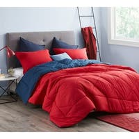 BYB Cherry Red/Nightfall Navy Reversible Comforter - Oversized Bedding