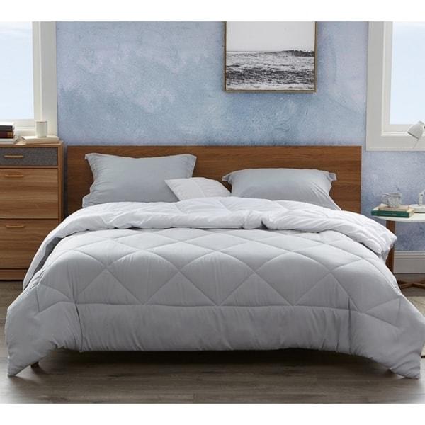 BYB Glacier Gray/White Reversible Comforter - Oversized Bedding