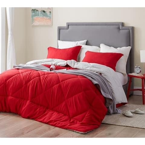 BYB Cherry Red/Silver Birch Reversible Comforter - Oversized Bedding