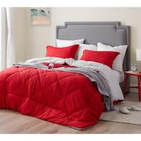 BYB Cherry Red/Silver Birch Reversible Comforter - Oversized Bedding