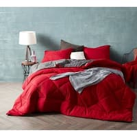 BYB Cherry Red/Granite Gray Reversible Comforter - Oversized Bedding