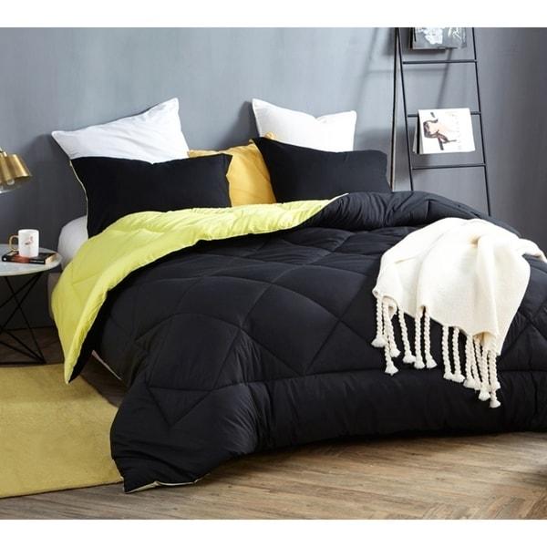 BYB Black/Limelight Yellow Reversible Comforter - Oversized Bedding
