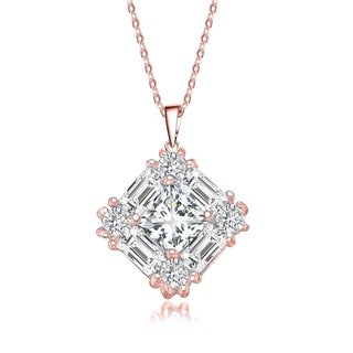 Collette Z Sterling Silver Rose Gold Plated Cubic Zirconia Pendant Necklace - Clear