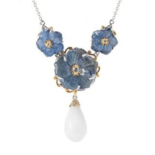 Michael Valitutti Palladium Silver Kyanite Flower & White Coral Drop Necklace