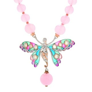 Michael Valitutti Palladium Silver Pink Quartz & Multi Gemstone Enamel Butterfly Toggle Necklace