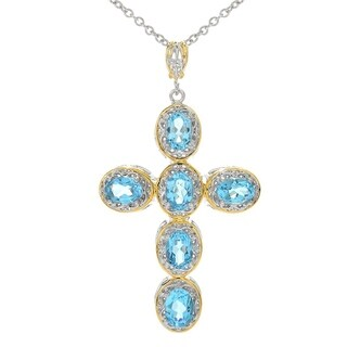 Michael Valitutti Palladium Silver Swiss Blue Topaz Cross Pendant Cable Chain